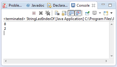 String lastIndexOf method example