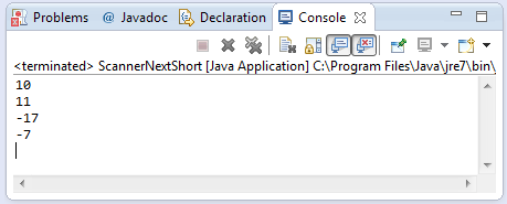 java scanner nextShort method example
