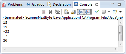 java scanner nextbyte method example