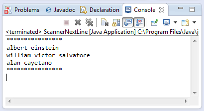 java scanner nextline method example