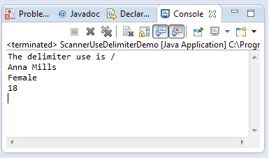 java scanner usedelimiter(string pattern) method example