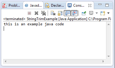 Java String trim() method example