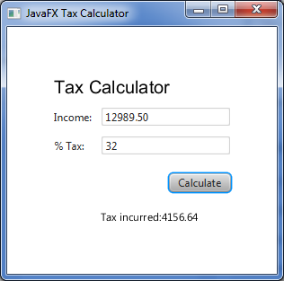 JavaFX Tax Calculator