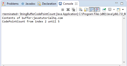 Java StringBuffer codePointBefore(int index) method example