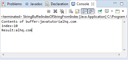 indexOf(String str, int fromIndex) method example