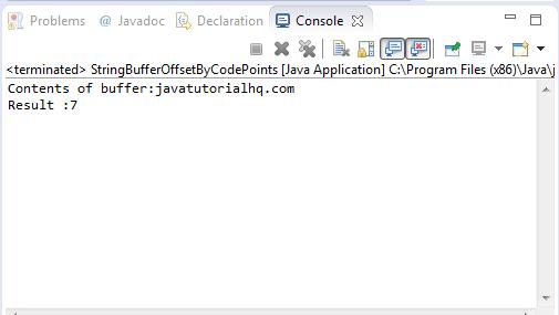 Java StringBuffer offsetByCodePoints() method example