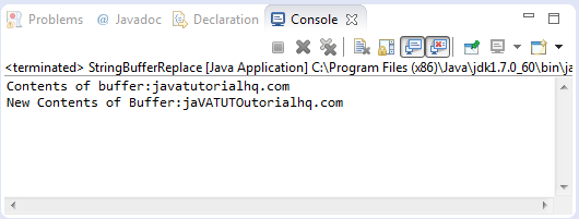 Java StringBuffer replace() method example