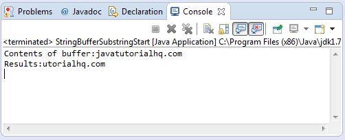 substring(int start) method example