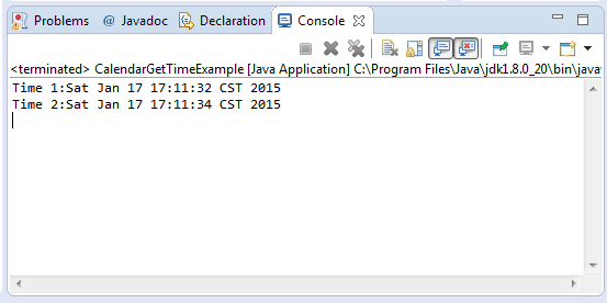 Calendar Method Illustration : Java calendar gettime method example