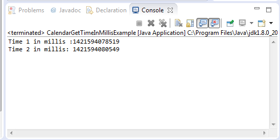 Illustration Of Calendar Method : Java calendar gettimeinmillis method example