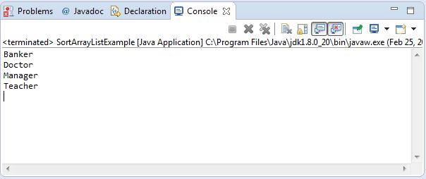 ArrayList Sort using Collections Framework Output