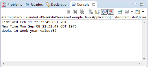 Calendar Method Illustration : Java calendar getweeksinweekyear method example