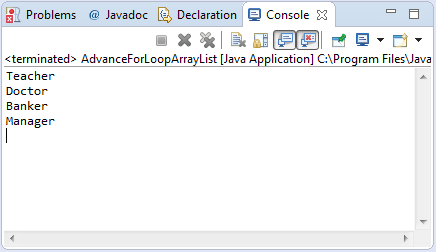 arraylist advance for loop sample output