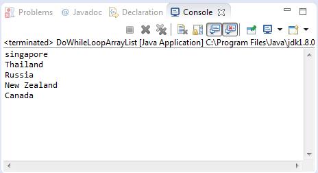 arraylist do while loop sample output