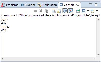 Arraylist while loop sample output