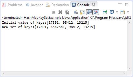 HashMap keySet example output