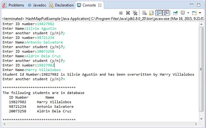Java HashMap put(K key, V value) method example