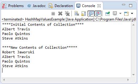 HashMap values method example output
