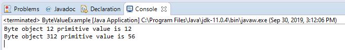 Java Short byteValue() method example output
